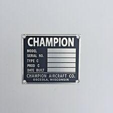 Original Champion Aircraft Data Plate, Oscelola, Wisconsin