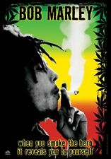 BOB MARLEY - POT SMOKING - FABRIC POSTER - 30x40 WALL HANGING HERB WEED 51941