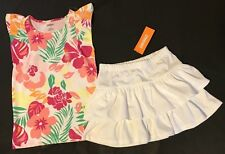 gymboree Hop n Roll floral  top and white ruffle skirt 5