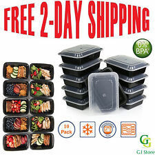 10 Meal Prep Containers Plastic Food Storage Reusable Microwavable 1 Compartment