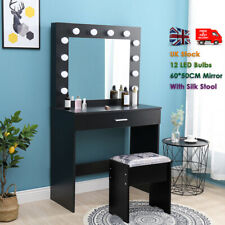 Dressing Table Set with Stool Large Mirror Drawer Dresser Desk 12 LED Bulb Black