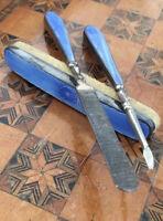 Antique Vanity Set Guilloche Enamel Silver Starburst Blue Hallmarked 1929 1920s