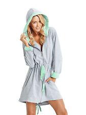 Women Knee Length Cotton Zip up Housecoat Bathrobe Dressing Gown ...
