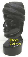 Statuette Africaine : Superbe tête d'homme barbu en bois dur noir et trés lourd