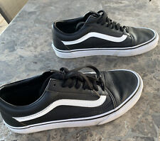 Primo Distressed Vans Old Skool Black Leather Low Tops Shoes 8 Mens 9.5 Womens