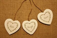 Vintage Chic Hanging Hearts Sign Plaque Live Laugh Love Shabby Distressed Wood