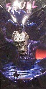 "Gothic Human Skull Alloy Metal Pendant Cord Necklace 18"" Horror Halloween Biker"