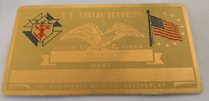 K of C US Social Security Metal Card Tag NOS VTG Perma Products​