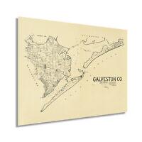 1892 Galveston County Map - Vintage Galveston County Texas Wall Art Poster Print