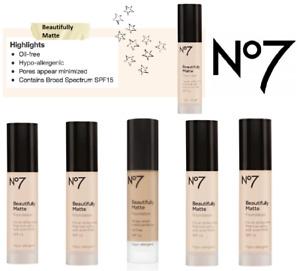 No7 Beautifully Matte & Light Foundation Coverage Oil Free SPF15 30ml - CHOOSE