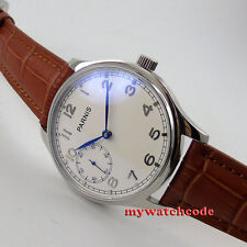 44mm parnis white dial blue hands brown strap hand winding 6497 mens watch P28B