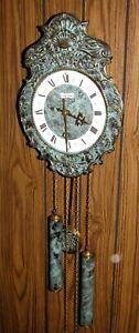 Stunning Hermle Wall Clock,Weighted,Bell Strike,Bronze Antiqued Face,Runs Fine