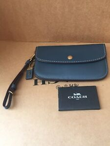 NWT Coach 58818 Clutch in Dark Denim Glovetanned Leather
