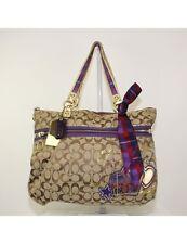 COACH Poppy Tartan Applique Glam Signature Tote Bag 15882