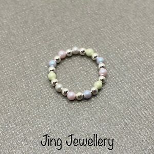 Rainbow ring, Sterling Silver Ring & Swarovski Pearl Stacking Ring, All Sizes