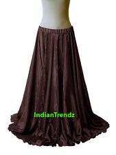 """40"""" Long Satin Full Circle Skirt Swing Belly Dance Costume Tribal Jupe Rock"""