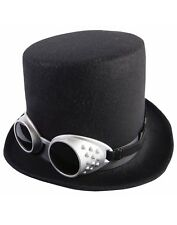 Steampunk Mens Adult Black Top Hat Goggles Costume Accessory