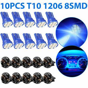 10x Blue T10 168 194 LED Bulb Car Instrument Gauge Cluster Dash Light W/ Socket