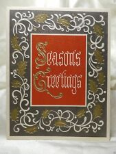 Holiday Seasonal Card Christmas Greeting Gold White Trim Perennials Vintage