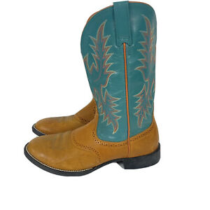 Ariat Women's 8 B Leather Embroidered Cowgirl Boots Teal & Brown 29423