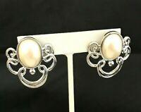 Vintage Earrings Silver Tone Simulated Pearl Pierced Retro Estate Jewelry 9J