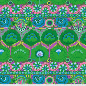 Kaffe Fassett Lge Scale Embroidered Flower Border PWGP185.GREEN Cotton Fab BTY