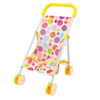 Dolls Toy Stroller Pram Pink Baby Doll Pushchair For Kids Pretend Play Toy D