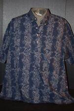Tori Richard Honolulu Mens (XXL) 100% Cotton Blue 3-Button Henley Island Shirt