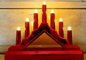 7 LED RED Pre-Lit Christmas SILVER Candle Bridge Arch Window Decor Xmas Light