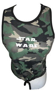 star wars on camo cropped tank top Green Black Brown Size Large Sleeveless