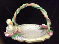 Fitz and Floyd Garden Rhapsody Large Ceramic Basket with Duckling, Original Box
