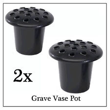 2x Black Memorial Grave Flower Pot, Replacement Stem Water Holder for Vases
