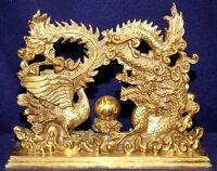 Bronze Chinese Oriental Dragon and Phoenix Sculpture / Statue - Pearl of Wisdom