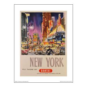 "Qantas Poster Print – New York: Fly There – Broadway - 40 x 30 cm 16"" x 12"""