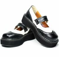 Womens Lolita Sweet Brogue Round Toe Ankle Strap Platform Shoes Wedge Mid Heel