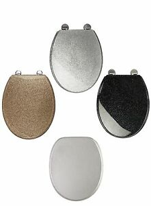 Blk/White/Gold/Silver Glitter Toilet Seat Sparkle Resin Bathroom Soft Slow Close