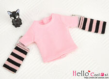 ☆╮Cool Cat╭☆341.【NT-10】Blythe Pullip(Separate Sleeves)Tee # Stripe Pink