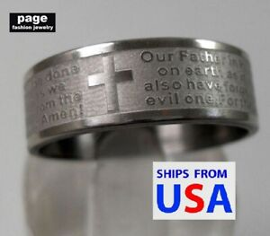Christian Cross Polished Stainless Steel English Lords Prayer Ring Size 7.5-12.5