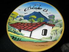 Wall hanging redware plate El Salvador, nice bright colors Ships Free