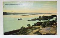 Vintage 1912 Postcard Steaming up the Mississippi River