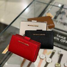 Michael Kors Women Small Bifold Wallet Credit Card Holder Leather Purse Clutch
