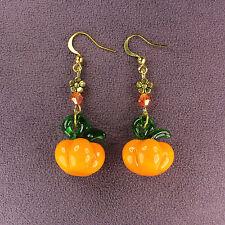 3D PUMPKIN EARRINGS Lampwork Thanksgiving Fall Harvest Gourd Squash Orange Gold