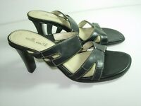 WOMENS BLACK LEATHER WILLI SMITH CAREER SLIDES COMFORT SANDALS SHOES SIZE 6.5 M