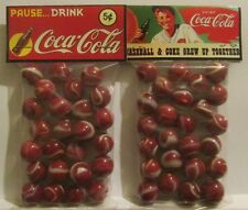 """2 Bags Of Coca Cola """"Baseball & Coke Grew Up together"""" Promo Marbles"""