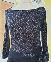 Hobbs Navy Blue Dress Stretch Bodycon Paintbrush Print Tanya 3/4 Sleeve UK 10
