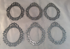 Tim Holtz  Die Cuts: Oval Ornate Frames  * Silver Glitter Cardstock * Six Frames