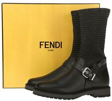 NEW FENDI ROMA BLACK WAVE STRETCH LEATHER BUCKLED  BOOTS SHOES 36/US 6