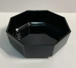 "Arcoroc Black Glass Bowl Octagon 5.5"" Marked France Made Vintage Salad Soup"