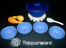 Tupperware BLUE 8pc Legacy Soup Server ~4 Pinch Bowl cereal salad ~Tara insert