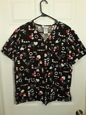 New listing Sb Scrubs Size M Black With Hearts Hugs Kisses Love